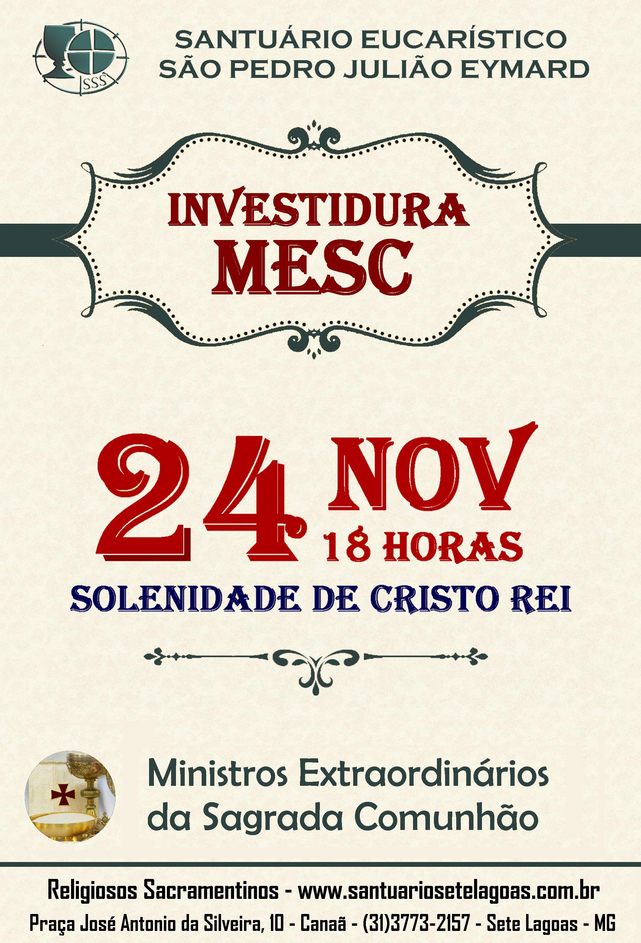 Investidura de novos Ministros Extraordinários da Sagrada Comunhão – MESC dia 24/11