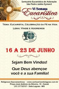 Participe da 6ª Semana Eucarística do Santuário de Sete Lagoas de 16 a 23 de junho