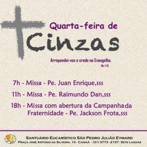 Quarta-feira de Cinzas no Santuário Eucarístico São Pedro Julião Eymard. Participe!