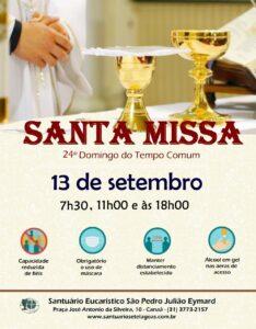 Santa Missa presencial dia 13/09. Participe!