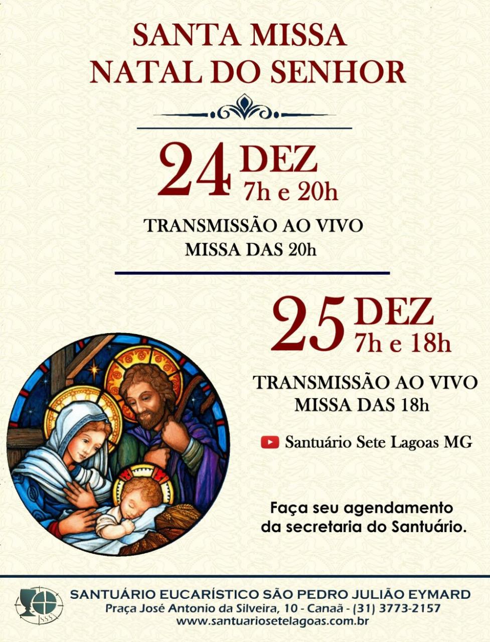 Horários das celebrações de Natal no Santuário Eucarístico